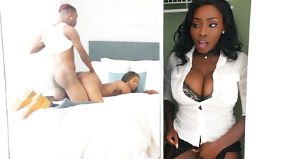 Young ebony have sex while stepmom in closet