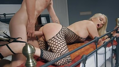 Milf in sexy fishnets bedroom sex with her son