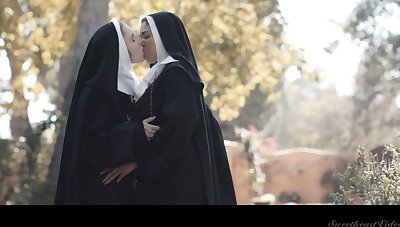 Horny nun Lena Paul can think only close by sinful cunnilingus outdoors