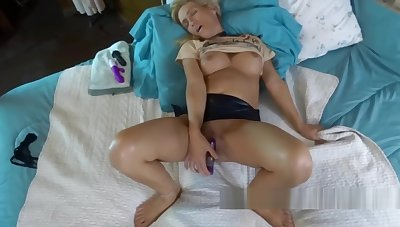 Horny become man Jolene lifts her skirt and fucks her toys