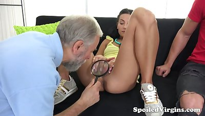 Old gynecologist is watching sultry dude fucking 19 yo virgin girlfriend Kelli Lox