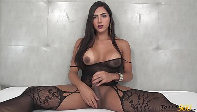 Big racked dirty minded kinky shemale Drika Lima loves anal masturbation