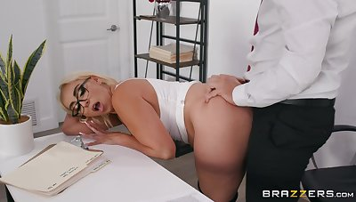 Blonde cougar enjoys a bit of naughty sex at hammer away office