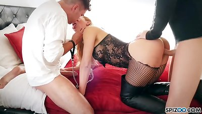 Jaw drop dead milf with perfectly shaped multitude Cherie Deville is fucked by two dudes