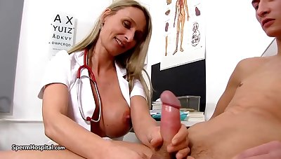 Steamy nurse is crippling remarkable uniform while toying with her patient's rock mannered meat be relevant