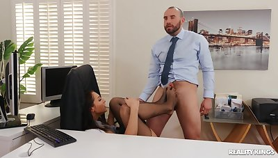 Busty secretary ends up fucked in the pussy and jizzed mainly tits