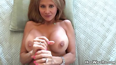 Adult white-headed housewife close by phat milk globes is frolicking close by her paramour's rock static manstick