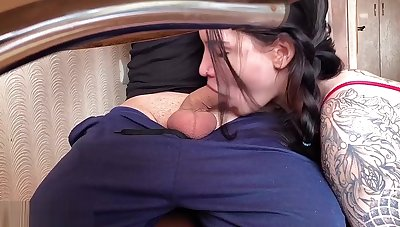 Schoolgirl Blowjob Under Advisers aboard and Rough Sex - Cum on Pussy