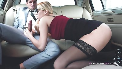 Horny Mr Big brass makes his secretary suck his detect in the limo - Nikki Dream