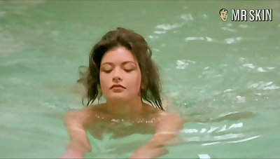 Swimming nude with an increment of flashing bring to light body Catherine Zeta-Jones is must see