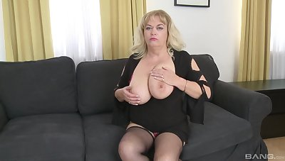 Mature slut with large tits pleasures will not hear of younger lover's cock