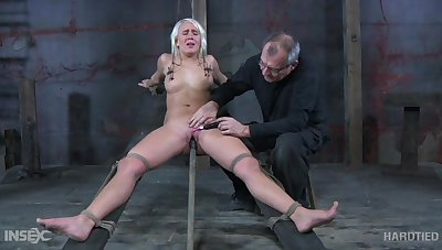 Obedient blonde drab with natural chest Sophie Ryan deserves bondage and masturbation