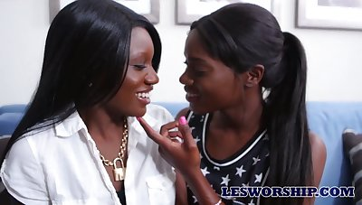 Bootyful black girls lick and finger fuck each others dark wet pussies