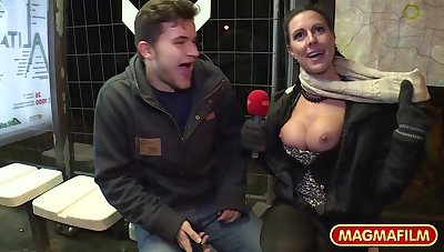 Busty German MILF with big tits enjoys sex in public